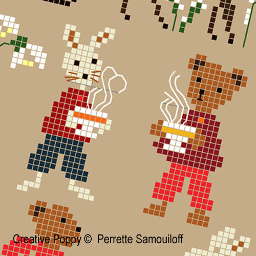Teddy and rabbit - in Winter (large) - cross stitch pattern - by Perrette Samouiloff (zoom 1)