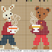 Teddy and Rabbit in Winter, counted cross stitch chart, designed by Perrette Samouiloff