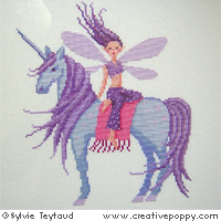 Lea, the Fairy with the blue Unicorn - cross stitch pattern - by Sylvie Teytaud