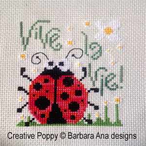 <b>Vive la Vie - Luck to be me</b><br>cross stitch pattern<br>by <b>Barbara Ana Designs</b>