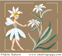 White Fairies collection: Edelweiss fairy - cross stitch pattern - by Sylvie Teytaud