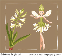 White Fairies collection: Hyacinth Fairy - cross stitch pattern - by Sylvie Teytaud