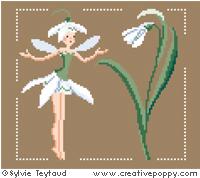 White Fairies collection: Snowdrop fairy - cross stitch pattern - by Sylvie Teytaud