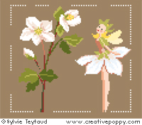 White Fairies collection: Christmas Rose Fairy - cross stitch pattern - by Sylvie Teytaud