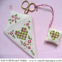 Rose hearts Scissor case & scissor fob - cross stitch pattern - by Marie-Anne Réthoret-Mélin