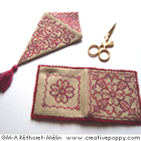 Scissor case and needle book - Red Monochrome Series - cross stitch pattern - by Marie-Anne Réthoret-Mélin