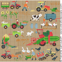 On the farm (large pattern) - cross stitch pattern - by Perrette Samouiloff