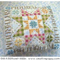 Bathroom door plaque, Quilt motif - cross stitch pattern - by Marie-Anne Réthoret-Mélin