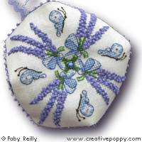 Lavender Bouquet Biscornu - cross stitch pattern - by Faby Reilly Designs