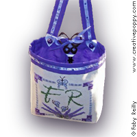 Lavender Bouquet Ort-bag - cross stitch pattern - by Faby Reilly Designs