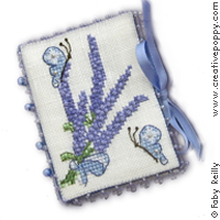 <b>Lavender Bouquet Needlebook</b><br>cross stitch pattern<br>by <b>Faby Reilly Designs</b>