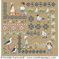Seaside motif sampler (large) - cross stitch pattern - by Perrette Samouiloff