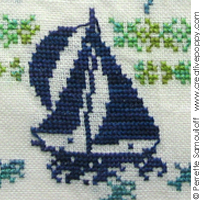 Where the beach meets the sea (L) - cross stitch pattern - by Perrette Samouiloff (zoom 1)