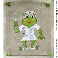 Nurse Frog - cross stitch pattern - by Chouett'alors