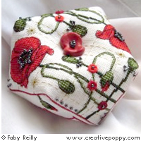 Poppy Biscornu - cross stitch pattern - by Faby Reilly Designs