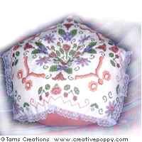 Florabella - giant biscornu cushion - cross stitch pattern - by Tam's Creations