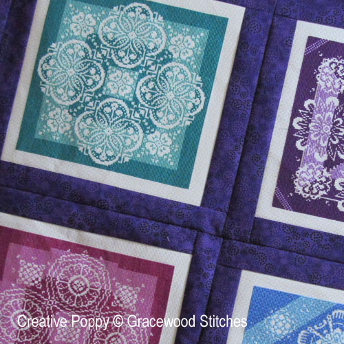 Tutorial: how to make a 4-block quilt cross stitch pattern by Gracewood Stitches, zoom 1
