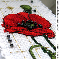 Poppy Bookmark and Key ring - cross stitch pattern - by Faby Reilly Designs