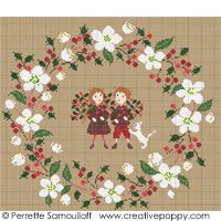 White Christmas wreath - cross stitch pattern - by Perrette Samouiloff