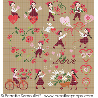 <b>Falling in Love (large pattern)</b><br>cross stitch pattern<br>by <b>Perrette Samouiloff</b>
