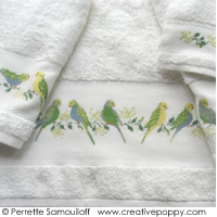 The parakeets - design for Bathroom towel - cross stitch pattern - by Perrette Samouiloff