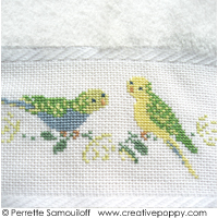 The parakeets - design for Guest towel - cross stitch pattern - by Perrette Samouiloff