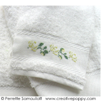 <b>The parakeets - Alphabet and Wash glove pattern</b><br>cross stitch pattern<br>by <b>Perrette Samouiloff</b>