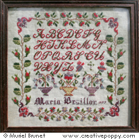 Antique sampler: Maria Braillon 1877 - Reproduction sampler - charted by Muriel Berceville