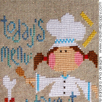 Cross stitch patterns related to cooking food, eating, drinking coffee, designed by Barbara Ana