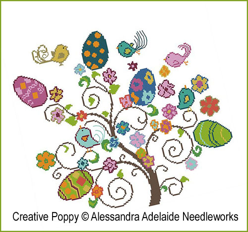 Easter Tree cross stitch pattern by Alessandra Adelaide Needleworks