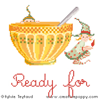 Ready for Breakfast (Bowl), counted cross stitch chart, designed by Sylvie Teytaud-Louche