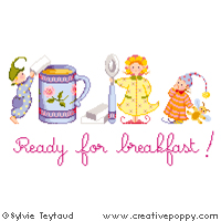 Ready for breakfast (Mug) - cross stitch pattern - by Sylvie Teytaud