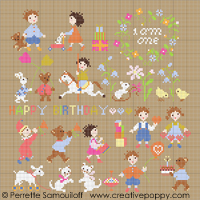 <b>Baby is one</b><br>cross stitch pattern<br>by <b>Perrette Samouiloff</b>