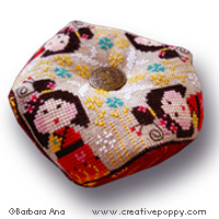 Kokeshi Biscornu cross stitch pattern by Barbara Ana designs