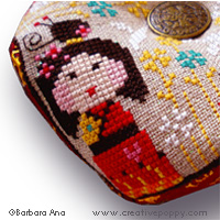 Kokeshi Biscornu cross stitch pattern by Barbara Ana Designs, zoom 1