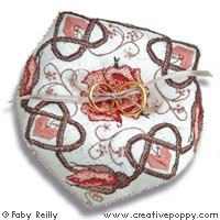 Rose sepia Biscornu (wedding ring cushion)cross stitch patternby Faby Reilly Designs