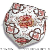 Rose sepia Biscornu (wedding ring cushion)cross stitch patternby Faby Reilly Designs