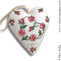 Sweet Roses heart - cross stitch pattern - by Faby Reilly Designs