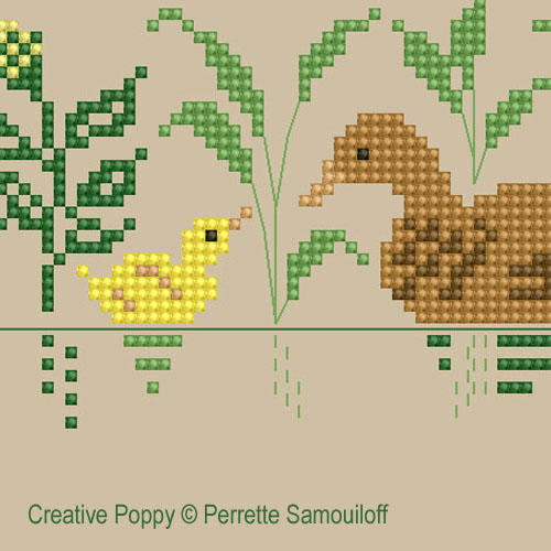 Mother and baby animals (large pattern) - cross stitch pattern - by Perrette Samouiloff (zoom 1)