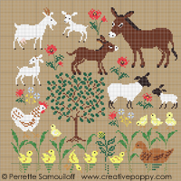 Mother and baby animals (large pattern) - cross stitch pattern - by Perrette Samouiloff
