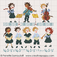 The little orchestra (small pattern) - cross stitch pattern - by Perrette Samouiloff