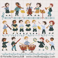 The little orchestra (large pattern) - cross stitch pattern - by Perrette Samouiloff