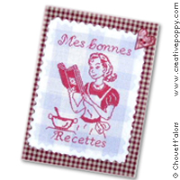Recipe book cover: mes bonnes recettes - cross stitch pattern - by Chouett'alors
