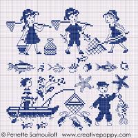 Gone fishing (small pattern) - cross stitch pattern - by Perrette Samouiloff