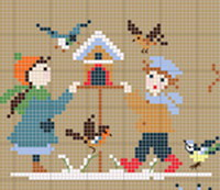 Happy Childhood - Winter, counted cross stitch chart, designed by Perrette Samouiloff