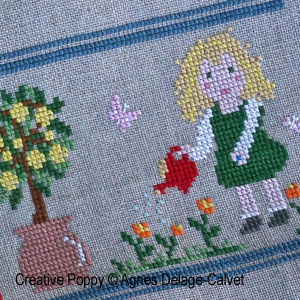 Agnès Delage-Calvet -  A story Told in Stitches: A Day in the Garden - counted cross stitch pattern chart (zoom1)