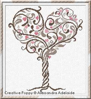 Tree of Love, counted cross stitch chart, designed by Alessandra Adelaide