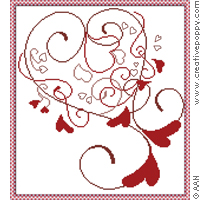 Cuori Volanti, counted cross stitch chart, designed by Alessandra Adelaide