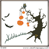 Halloween Tree - cross stitch pattern - by Alessandra Adelaide Needleworks