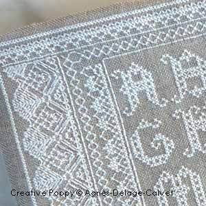 Lace Alphabet Sampler in cross stitch and backs stitch (zoom1)
